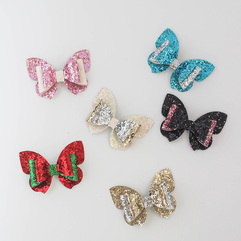 Colorful Christmas Butterfly Glitter Bows Hairpin Children Barrettes Hair Accessories For Girls Kids Party Headwear Hair Clip