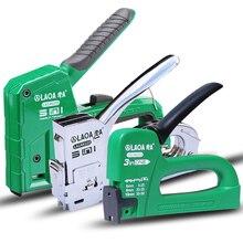 Laoa multifunctio manual pistola de pregos estofos enquadramento rebite grampeadores armas kit para porta madeira nailers rebite ferramenta do prego do agregado familiar arma