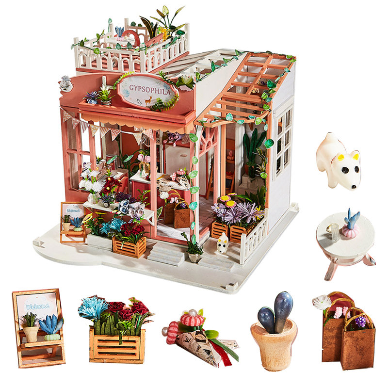 Beautiful Flowers Wooden Doll House 1/24 Diy Miniature Dolls House Furniture And Accessories  Wood House Model For Children Casa