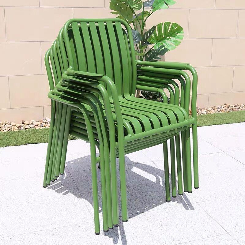 New Design Modern Brand Bistro Dining Outdoor Garden Restaurant Patio Metal Aluminum Stackable Chairs Table Set Furniture