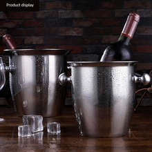 Stainless Steel Thicken Red Wine Ice-pail Cooler Box Thickening Champagne Bucket Ice For Hotel Bar Tool