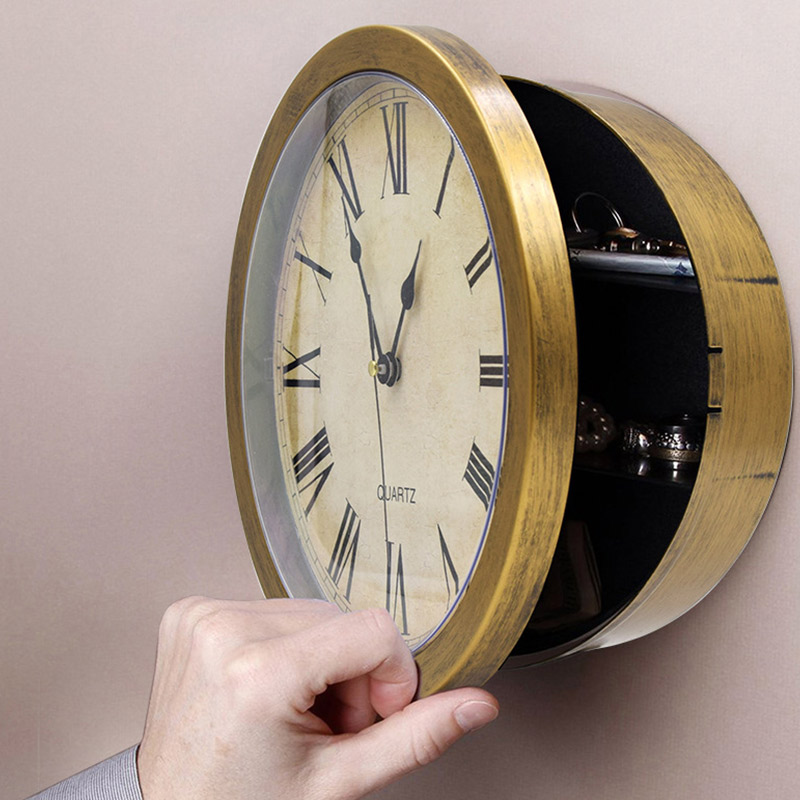 Office Security Clock Style Safes  Wall Clock Safe Box Creative Vintage Hidden Secret Storage Box For Cash Money Jewelry Home