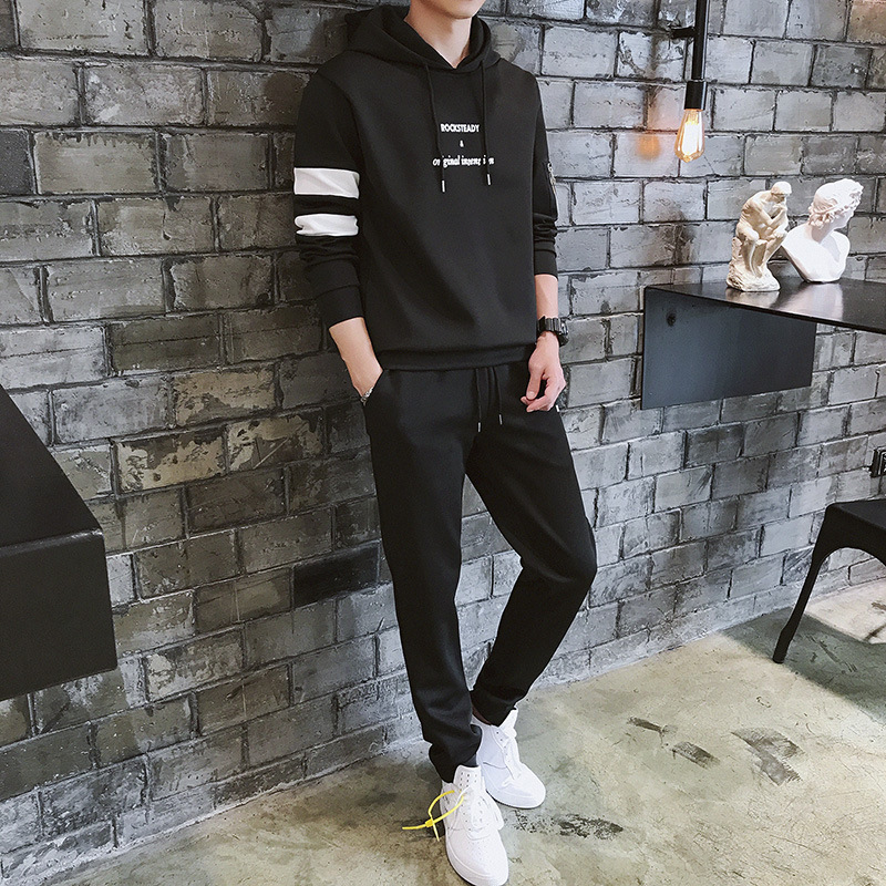Spring And Autumn MEN'S Wear Two-Piece Set MEN'S Casual Suit Hooded Pullover Large Size Hoodie Suit Sports Set Men's Fashion