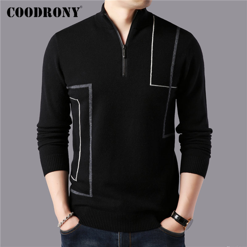 COODRONY Brand Sweater Men Winter Thick Warm Zipper Turtleneck Sweaters Merino Wool Pullover Men Fashion Striped Pull Male 93034