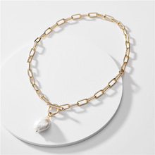 цена на 2020 Spring Summer Thick Chunky Chain Necklace Fresh Water Pearl Pendant Necklaces for Women