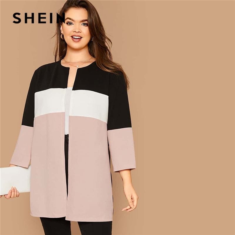 SHEIN Plus Size Cut-and-sew Open Front Coat Women Autumn 3/4 Length Sleeve Casual Plus Colorblock Outwear Coats