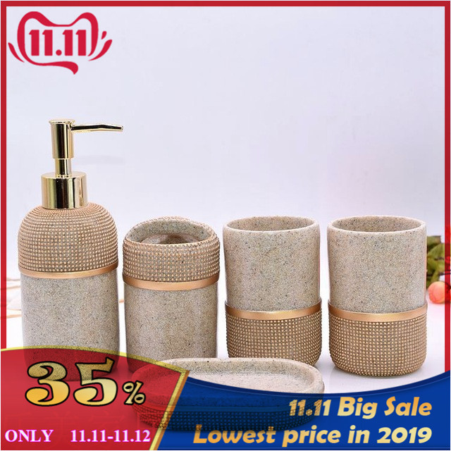 Porte-brosse à dents liquide en résine | Ensemble de 5 pièces/ensemble de vaisselle à savon, douche Gel shampooing, bouteille liquide, porte-brosse à dents, tasse d'eau, accessoires de salle de bain