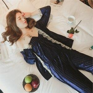 Image 4 - JULYS SONG Velvet Pajamas Set Autumn Winter Warm Women Sexy Pajamas Sleepwear Sleeveless Strap Nightwear Long Pants Homewear