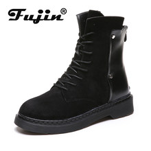 Fujin Ankle Booties Zip Buckle Breathable High Quality High Top Women Boots Sneakers for Female Autumn Spring Platform Boots(China)