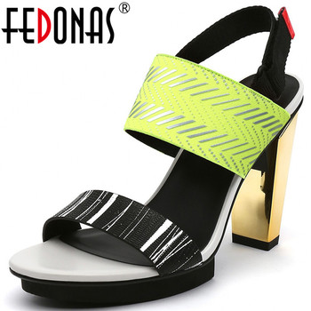FEDONAS Sexy Wedged Platforms High Heels Sandals Genuine Leather Peep Toe Pumps Lace Up Spring Summer Night Club Shoes Woman