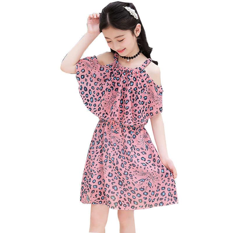 เด็กวัยหัดเดินสาวฤดูร้อนชีฟองดอกไม้ชุดเดรสสำหรับสาวแฟชั่น Off-The-Shoulder วัยรุ่นเด็กเสื้อผ้า