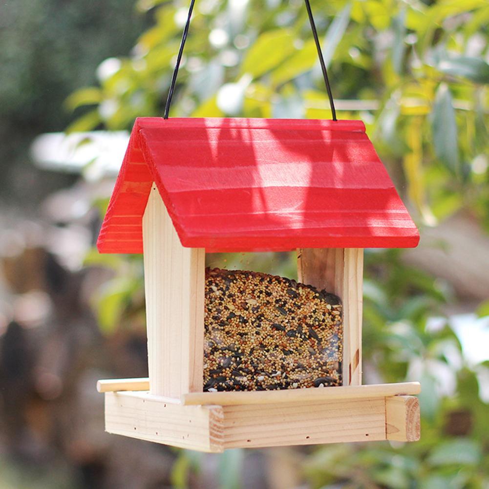 Birds House Feeder Outdoor Wooden Bird Hanging Rainproof Balcony Villa Food Box