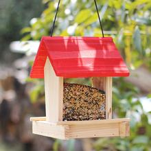 Birds House Feeder Outdoor Wooden Bird Hanging Rainproof Balcony Villa Food Box