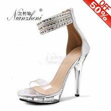 цена на 13cm High Heels Crystal Sandals Platform The Bride Wedding Shoes Cover Heel 5 Inch chain Transparent Women's Shoes Size 12 Gold