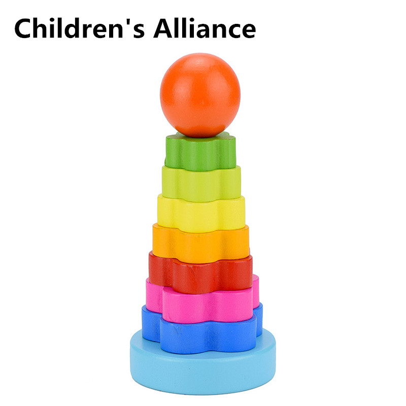 Wooden Toy Colorful Pile Tower LCM14 Rainbow Donut Stacking 2-3 Year Old Children Hand And Eye Coordination Training Game