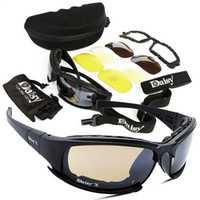 Lunettes tactiques Daisy lunettes militaires armée lunettes de soleil avec 4 lentilles boîte d'origine hommes tir lunettes Gafas