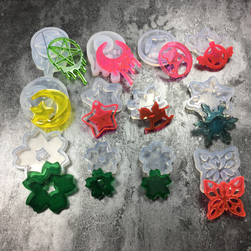 11 Styles Moon Star Horse Lucky Leaf Liquid Silicone Resin Expoxy Jewelry Mold Uv DIY Jewelry Tools For Making Pendant Necklace