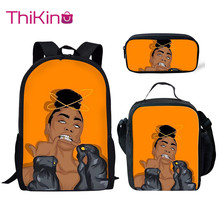 Thikin Cool Afro American Girls School Bags for 3pcs/set Students Preschool Backpack Bookbag With Lunch Boxes Satchel