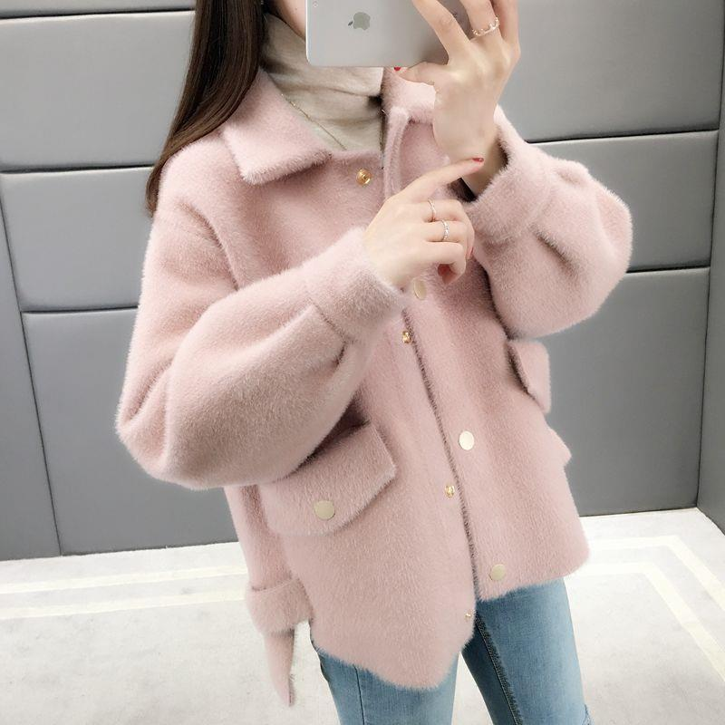 Coat Female Autumn And Winter 2019 New Loose Solid Color Long-sleeved Knit Sweater Cardigan Women's Clothing