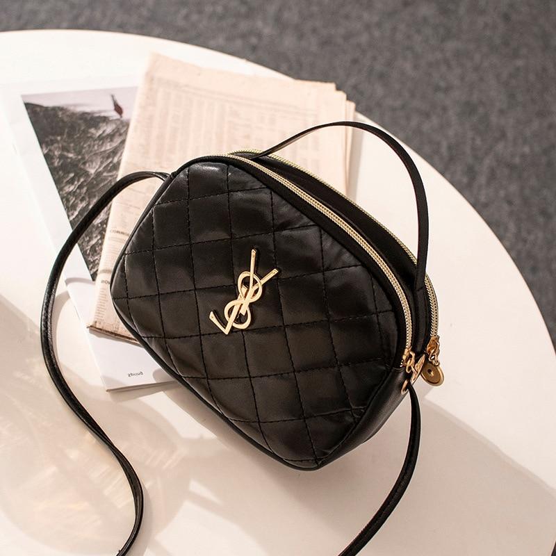 Small Bag 2020 Korean-style New Style Rhombus Women's Handbag Double Zipper Crossbody Bag Change Mobile Phone Shoulder Bag