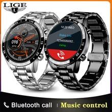 LIGE 2021 mode plein cercle écran tactile montres intelligentes hommes étanche sport Fitness montre pour Bluetooth appel montre intelligente hommes