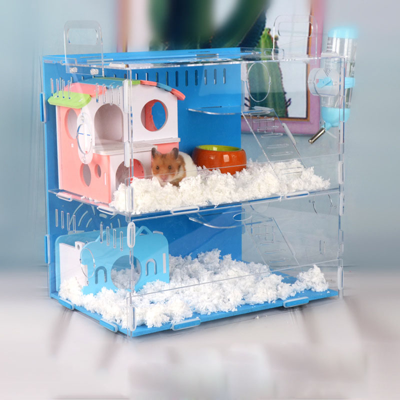 Hot Sale Hamster Cage Acrylic Guinea Pig Oversized Luxury Villa Small Pet Feeding Box Hamster Accessories