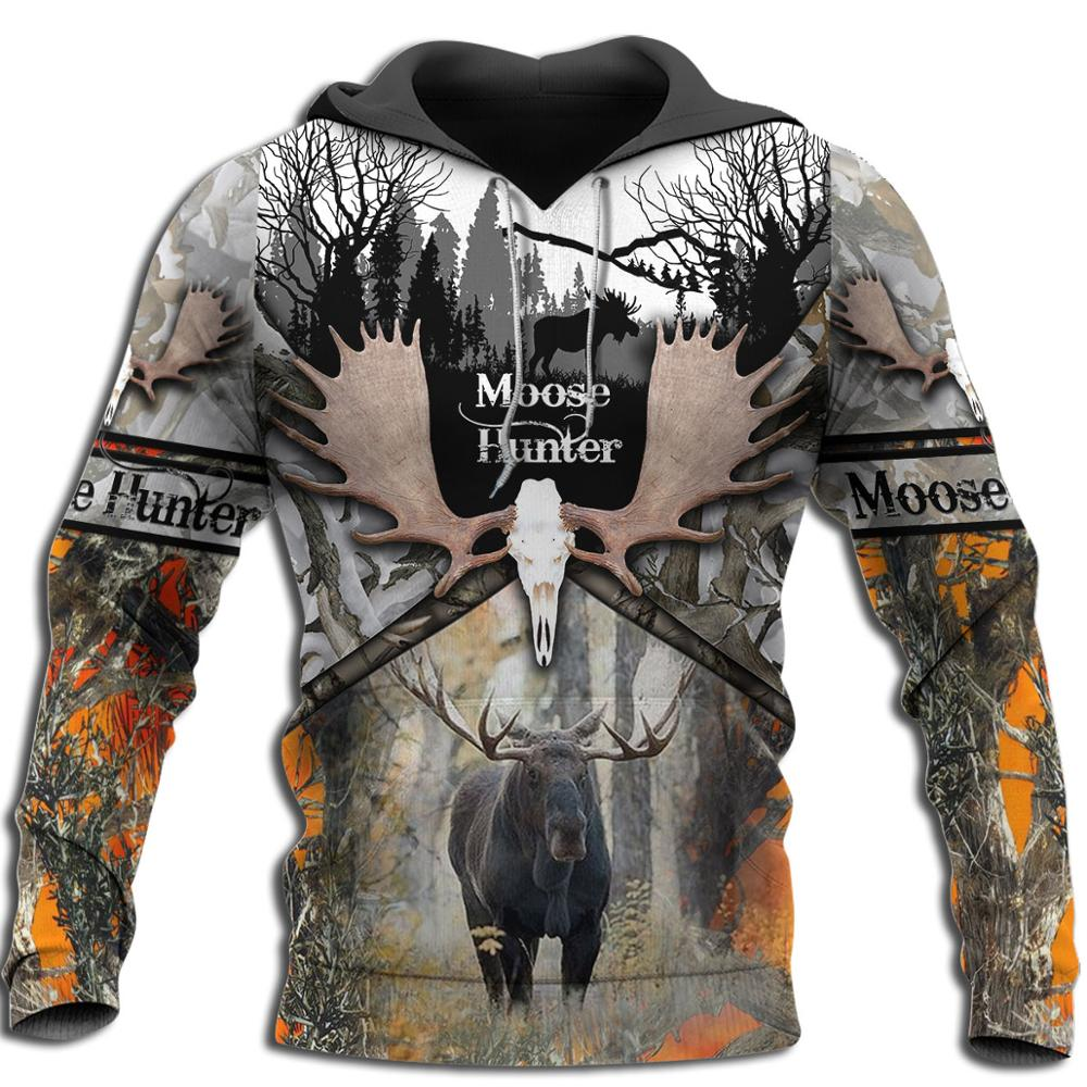 Moose Hunting Camo 3D Print Men Hoodies/sweatshirt Harajuku Fashion Hooded Long Sleeve Pullovers Unisex streetwear Drop shipping