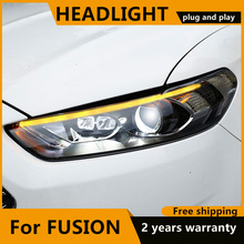 Автомобильный Стайлинг для Ford Mondeo 2013 2015 светодиодный налобный фонарь для нового Fusion Головной фонарь Динамический указатель поворота светодиодный DRL Bi Xenon HID