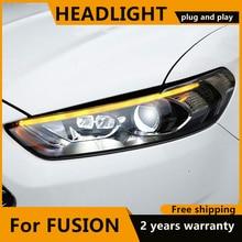 Kiểu Dáng Xe Dành Cho Xe Ford Mondeo 2013 2015 Led Đèn Pha Mới Fusion Đầu Đèn Năng Động Biến Tín Hiệu Đèn LED DRL bi Xenon HID