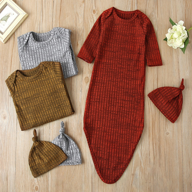 2 Pcs Cotton Newborn Sleeping Bag Short Sleeve Bag With Hat Toddler Infant  Autumn Winter Keep Warm Bedding 3