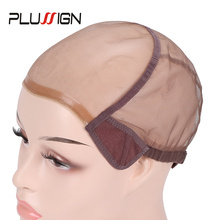 Wig-Caps Wigs Brown Plussign Full-Lace Mesh-Base Adjustable-Strap Making with for Stretchy-Net