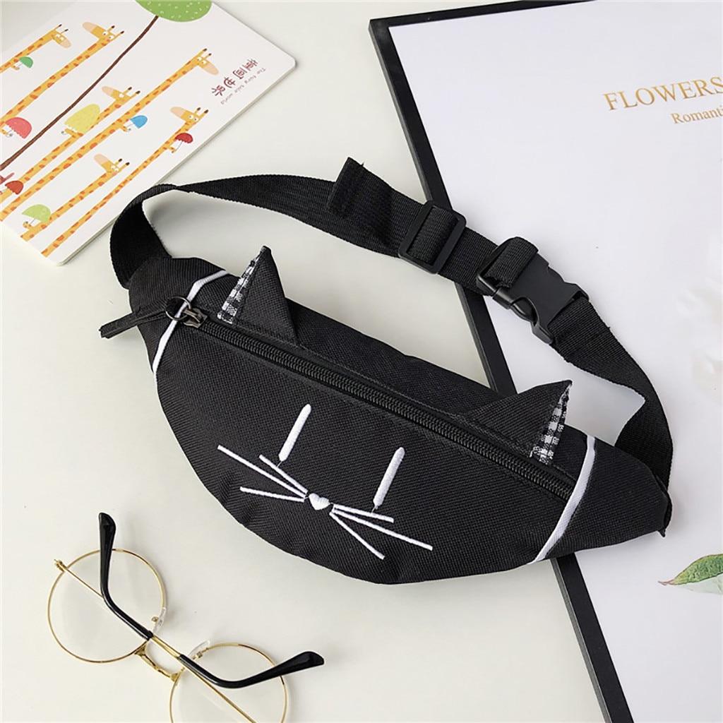 Kids Mini Waist Bag Fanny Pack Cute Cat Ear Printed Nerka Fashion Chest Canvas Pocket Money Belt Women Waist Bag Sac 2019#T3