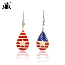 RIR Oval Star And Striped American Flag Earrings Red White Blue July 4 Stars Stripes Jewelry