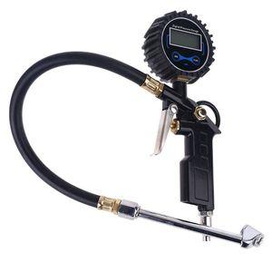 Image 1 - דיגיטלי צמיג Inflator מד לחץ עם כפול ראש צ אק עבור מכונית משאית RV אופניים