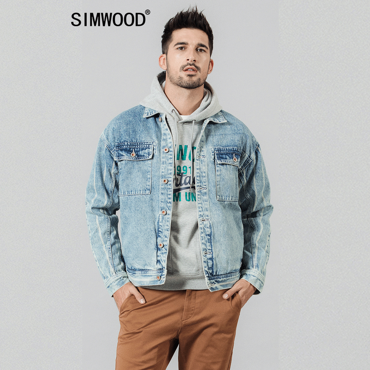 SIMWOOD 2020 Spring New Denim Jackets Men Double Pocket Vertical Striped 100% Cotton Back Denim Chore Coats Streetwear 1903561