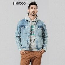 SIMWOOD 2020 new denim jackets men double pocket vertical striped 100% cotton ba