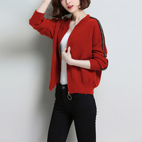 new casual knitwear Women Spring Autumn Long Sleeve Stand Collar Zip Up solid color Knitted sweater tops Cardigan Knitting Coat