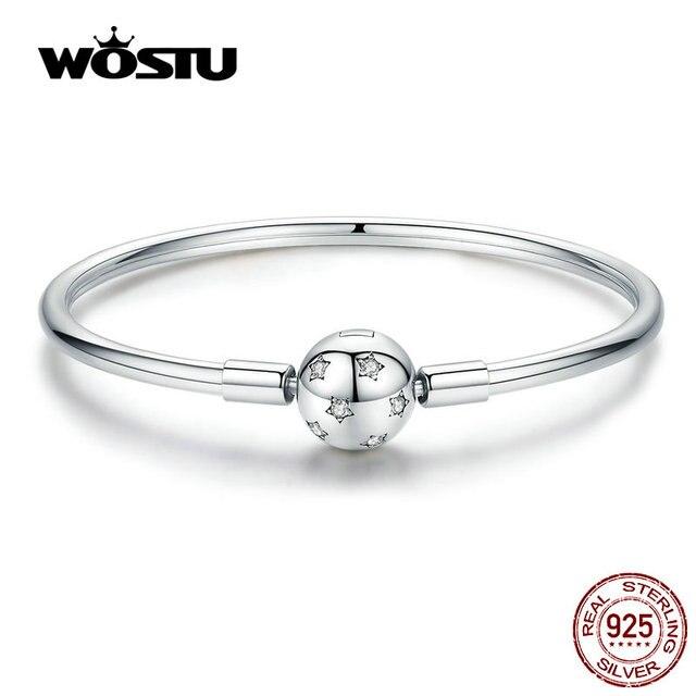 WOSTU تألق نجوم أساور 100% 925 مجوهرات الفضة القياسية والزركونيوم إسورة حلية مستديرة للنساء الفضة 925 مجوهرات CQB144