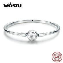 WOSTU Sparkling Stars Bracelets 100% 925 Sterling Silver Zircon Round Charm Bracelets Bangle For Women Silver 925 Jewelry CQB144