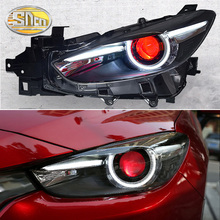 Car Styling LED Headlight For Mazda 3 2014 - 2018 Axela LED DRL Red Devil Eyes Light H/L Projector Lens Head Lamp Assembly free shipping vland factory headlamp for focus headlight led 2015 assembly modified cars projector lens head lamp