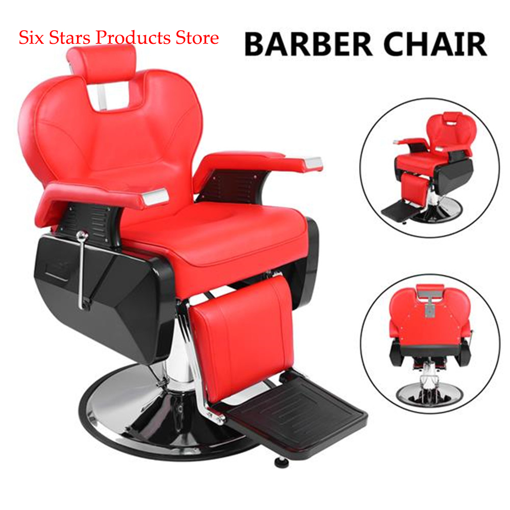 Professional Salon Barber Chair 8702A Red Classic Spa Shampoo Hydraulic Recline Hair Salon Adjustable Back For Barbershop