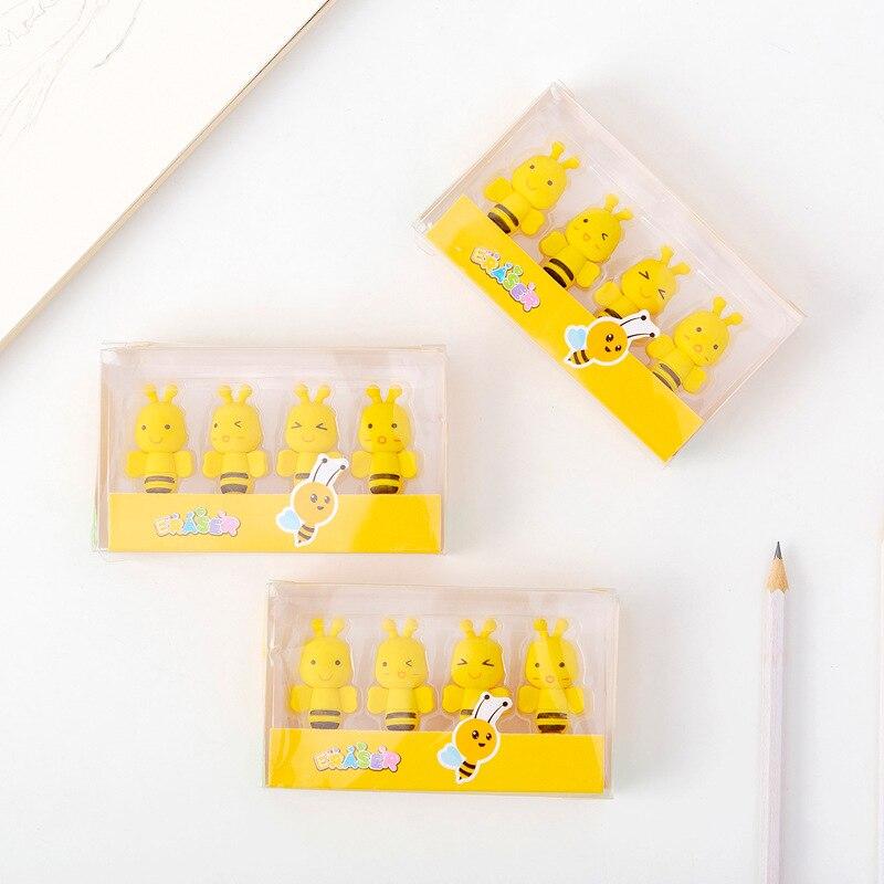 4pcs 작은 꿀벌 지우개 세트 연필에 대 한 미니 꿀 꿀벌 고무 지우개 어린이 키즈 선물 사무실 학교 학생 클리너 A6389