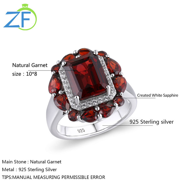 GZ ZONGFA Hot Sale Handmade Wedding Engagement Fine Jewelry Natural Garnet 925 Sterling Silver Ring For Party women 6