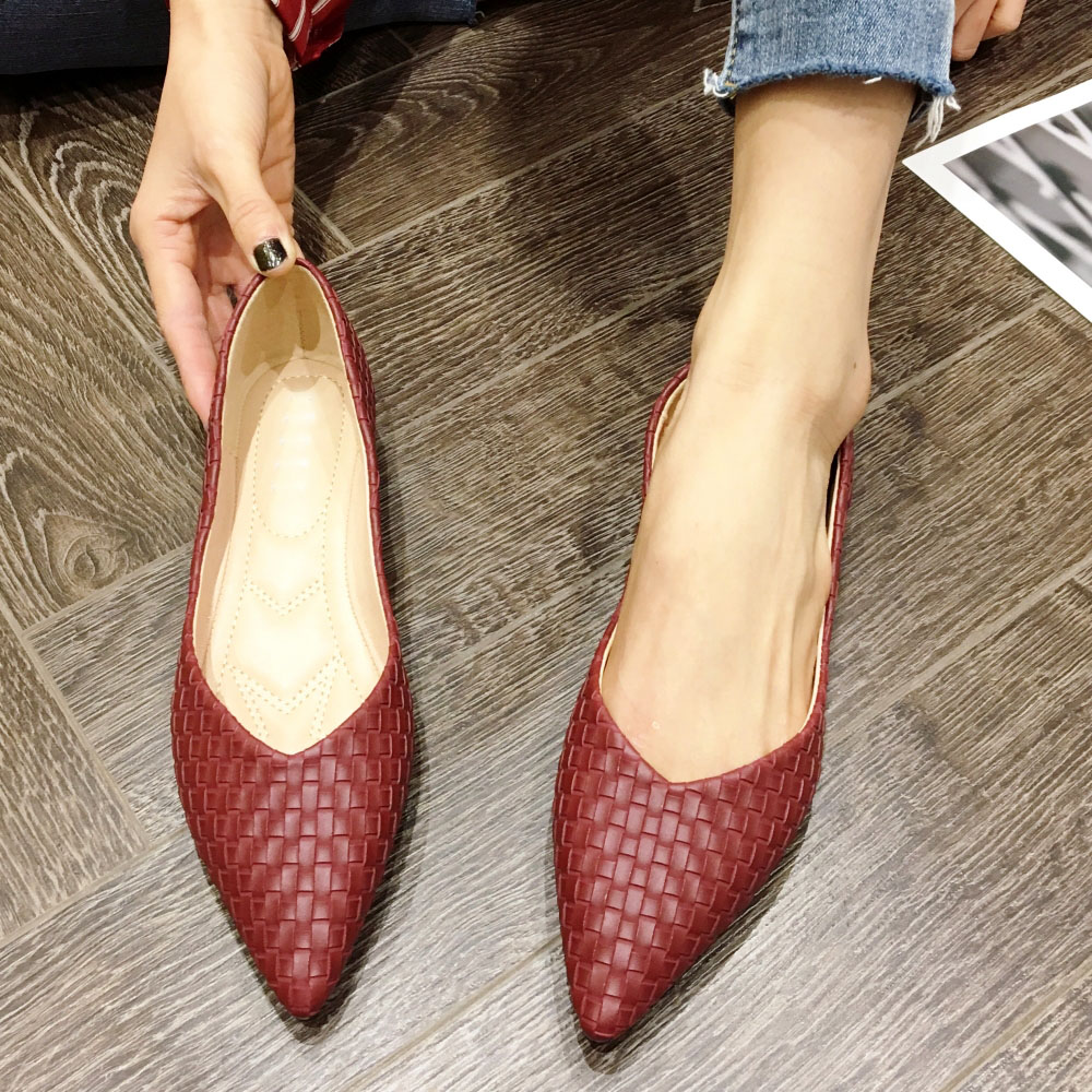 NEW Style Red 2020 Women Ballet Flats Spring Autumn Brand Pointed Toe Weave Women Shoes Office Ladies Soft Work Single Shoes