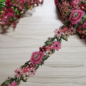 Lychee Life Flower Lace Trim Embroidery Lace Ribbon Water Soluble Lace DIY Sewing Trimmings Accessories for Needlework