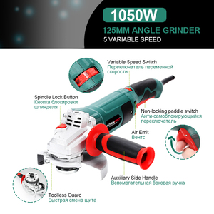 Image 3 - Electric Angle Grinder 1050W 125mm Variable Speed 3000 10500RPM Toolless Guard for Cutting Grinding Metal or Stone Work LANNERET