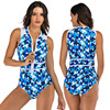 Zippered Front Sports One Piece Swimsuit 22