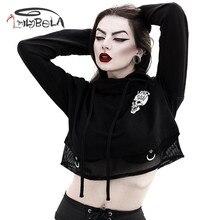 Imily Bela Gothic Hoodies Women Autumn Skull Print Mesh Patchwok Black Sweatshirt Casual Sexy Long Sleeve Hooded Bluza Damska