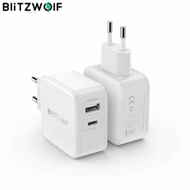 BlitzWolf 30W نوع-C الهاتف المحمول شاحن PD/QC3.0 + 2.4A المزدوج USB سريع شاحن الاتحاد الأوروبي محول القابس foriPhone 11 برو XR لباد الأبيض