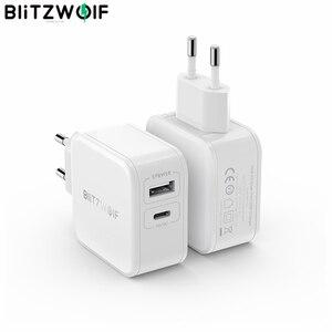 Image 1 - BlitzWolf 30W typu C ładowarka do telefonu komórkowego na PD/QC3.0 + 2.4A podwójny USB szybka ładowarka ue przejściówka Adapter ForiPhone 11 PRO XR dla iPad biały